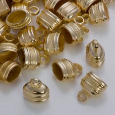 Podłużne końcówki z falkami do rzemieni w złotym kolorze 13x7.5mm
