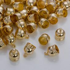 Końcówki do rzemieni i sznurków beczułki w złotym kolorze 9.5 mm