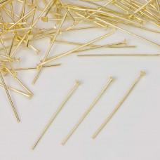 Szpilki z płaską główką w kolorze złotym  30mm