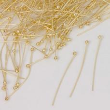Szpilki z okrągłą główką w kolorze złotym 30mm