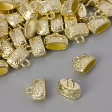 Końcówka płaska zdobiona light gold 11x5mm