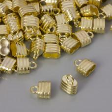 Końcówka do rzemieni z dwoma dziurkami pasy light gold 9x4,5mm