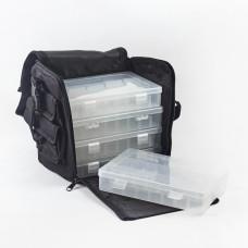 Materiałowa torba z plastikowymi pudełkami 20,3x21x15,2cm