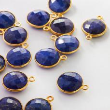 Lapis lazuli zawieszka krążek fasetowany w okuciu AG925 12mm