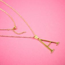 Naszyjnik ze stali chirurgicznej z literką A złoty 44cm