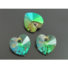 Swarovski heart 10mm luminous green