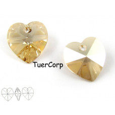 Swarovski heart 14mm golden shadow