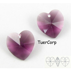 Swarovski heart 14mm amethyst