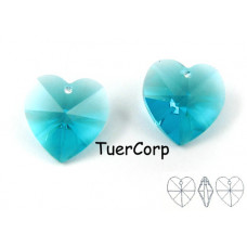 Swarovski heart 14mm blue zircon