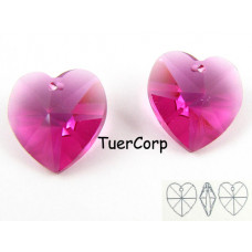 Swarovski heart 14mm fuchsia