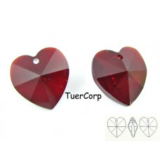 Swarovski heart 14mm garnet