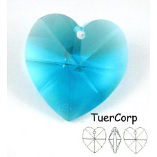 Swarovski heart 18mm blue zircon