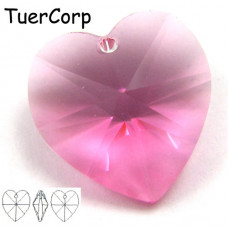 Swarovski heart 18mm rose