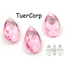 Swarovski pear-shaped 16mm light rose