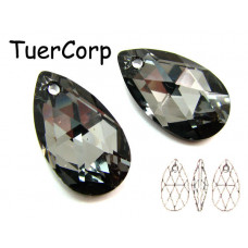 Swarovski pear-shaped 22mm silver night