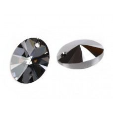 Swarovski oval pendant silver night 18mm