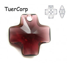 6866 cross pendant, SWAROVSKI, burgundy 20mm