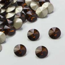Swarovski rivoli stone smoked topaz 8mm