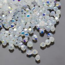 Swarovski bicone bead white opal AB 3mm