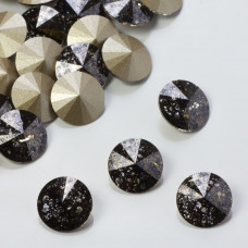 Swarovski rivoli stone black patina 10mm