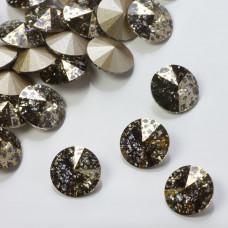 Swarovski rivoli stone gold patina 10mm