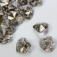 Swarovski heart pendant gold patina 18mm