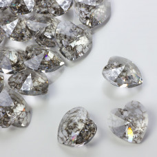 Swarovski heart pendant silver patina 18mm