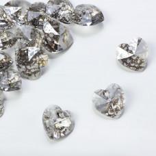 Swarovski heart pendant silver patina 14mm
