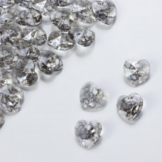 Swarovski heart pendant silver patina 10mm