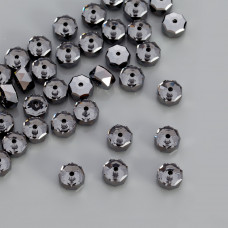Swarovski rondelle bead silver night 8mm