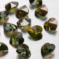 Swarovski heart 14 mm peridot bronze shade
