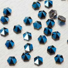 5060 Hexagon Spike bead metalic blue 7.5mm