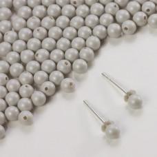 5818 round pearl do kolczyków pastel grey 4mm