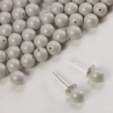5818 round pearl do kolczyków pastel grey 6mm