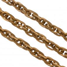 Łańcuch aluminiowy owal podwójny kwadratowy antyczny brąz 15x10mm
