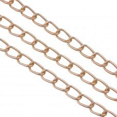 Łańcuch aluminiowy owal kratkowany rose gold 14x8mm