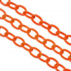 Łańcuch aluminiowy owal gładki neon orange 16x11mm