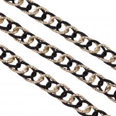 Łańcuch aluminiowy owal diamentowany czarno złoty 17x12mm