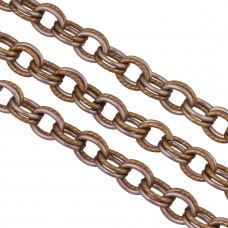 Łańcuch aluminiowy owal podwójny satynowy brąz 14x12mm
