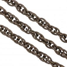 Łańcuch aluminiowy owal podwójny nacinany czerniony 14x11mm
