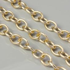 Łańcuch aluminiowy owal drapany złoty 20x15mm