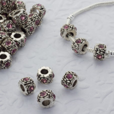 Koralik z kryształkami rose 5mm