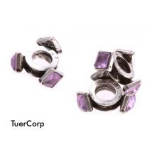 Przekładka kwadraciki z kryształkami sapphire 11mm