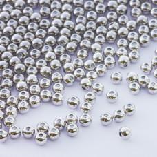 Zapięcie stoper z silikonem do cienkich sznureczków kulka srebrny 4mm