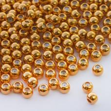 Zapięcie stoper z silikonem do cienkich sznureczków kulka złoty 5mm