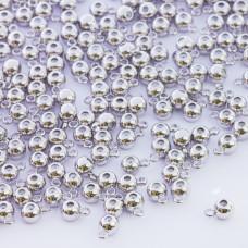 Zapięcie stoper z silikonem do cienkich sznureczków kulka z krawatką srebrny 6x4mm