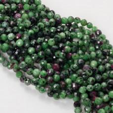 Zoisyt z rubinem kulka fasetowana 6mm zielony