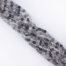 Kryształ górski z rutylem kulka fasetowana 5mm
