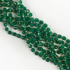 Agat zielony baryłka fasetowana 6mm