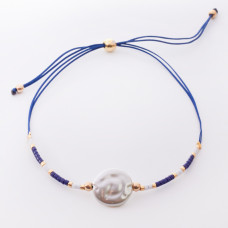 Bransoletka ze sztuczną perłą na sznureczku z koralikami Miyuki granatowa